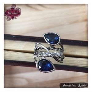 retro deco layered twist sapphire cocktail ring